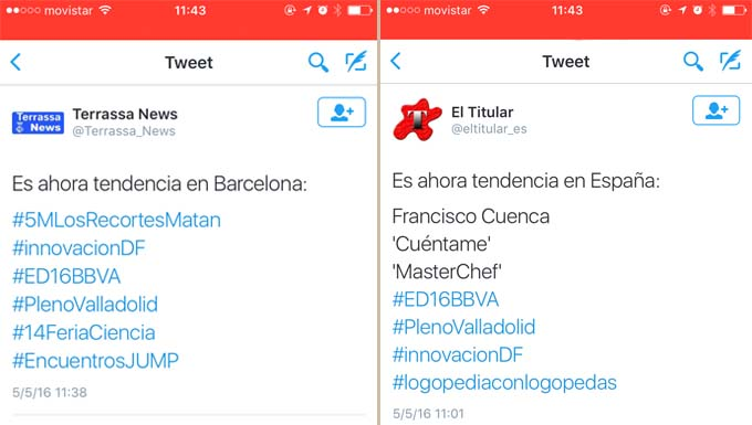 Tweets de trend topic